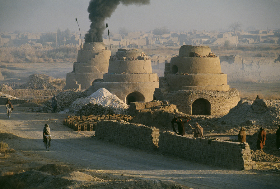 Kilns firing bricks to rebuild homes, Kandahar, Afghanistan