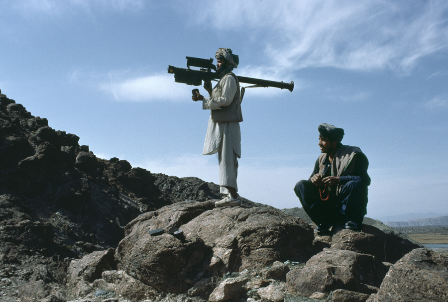 Afghan mujahadeen with surface to air stinger missile, near Jalalabad, Afghanistan